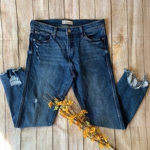 Gap High Rise Slim Straight Jeans Raw Hem 31R